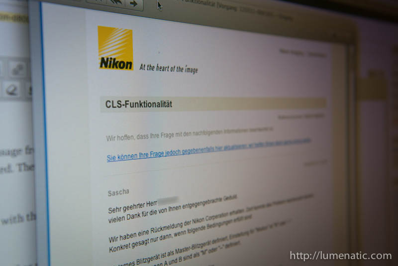 Nikon D800 CLS issue – feedback from Nikon HQ !