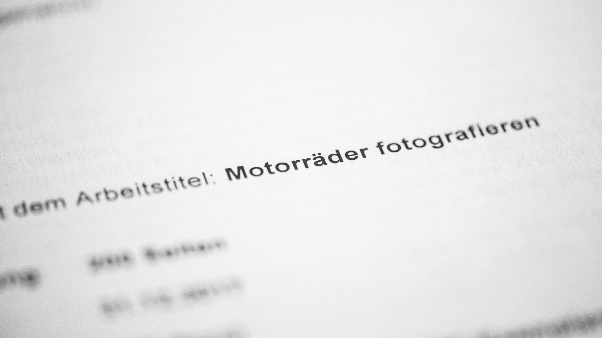 Projekt: Lehrbuch zur Motorradfotografie