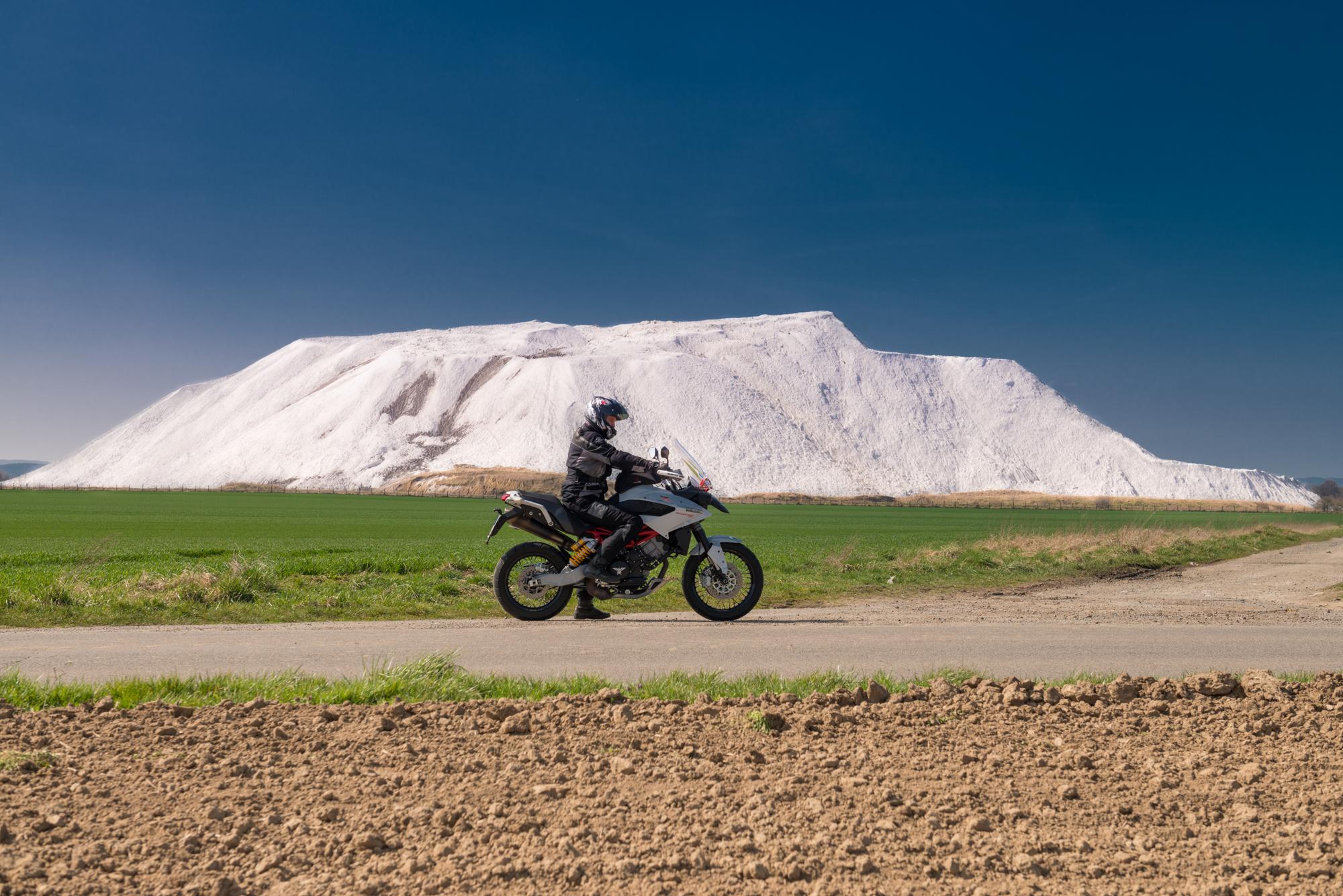 Short bike shoot at a potash mine heap