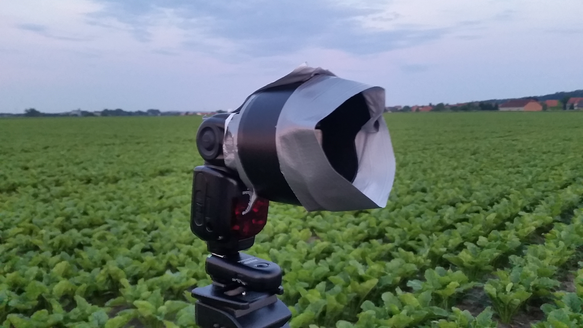 Improvising a Snoot with a lens hood and duct tape