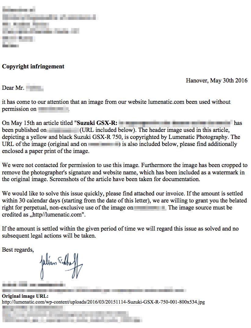 Letter copyright infringement